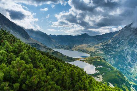 View on Przedni Staw and Wielki Staw in Tatra Mountains Banco de Imagens