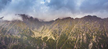 A yellow path to Przelecz Krzyzne in Tatra Mountains Banco de Imagens