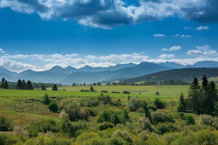 Breathtaking Tatra Mountains and green meadows of Slovakia Banco de Imagens