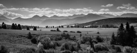 Misty Tatra Mountains - black and white panorama Banco de Imagens