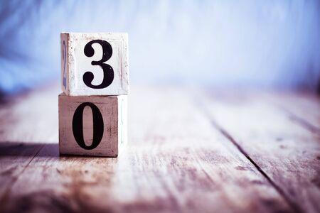 Number 30, thirty, three and zero - date, anniversary, birthday