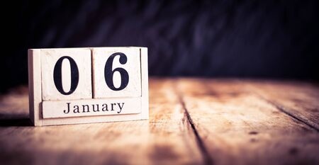 January 6th, 6 January, Sixth of January, calendar month - date or anniversary or birthday