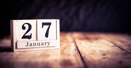 January 27th, 27 January, Twenty Seventh of January, calendar month - date or anniversary or birthday