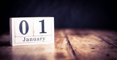 January 1st, 1 January, First of January, calendar month - date or anniversary or birthday Banco de Imagens