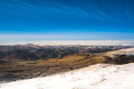 Winter in mountains. Snow covered summits (Ben Vorlich, Stuc a Chroin, Cruach Ardrain, Ben More). Winter trekking in Scotland. Breathtaking munros.