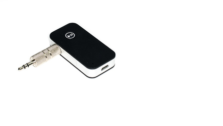 AUX, Bluetooth Receiver music player, audio black color with shiny color jack isolated on white background