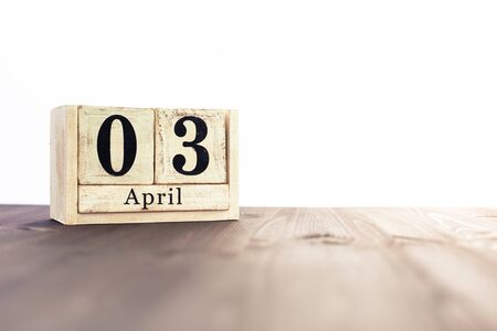 April 3rd, fourth month of the clendar - copy space for text next to April symbol