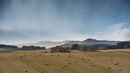 Perthshire and Kinross landscape after harvest - golden fields, straw bales, misty mountains in background