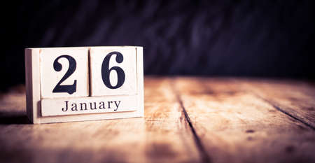 January 26th, 26 January, Twenty Sixth of January, calendar month - date or anniversary or birthday Banco de Imagens