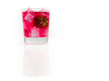 Goblet of homemade strawberry liqueur Standard-Bild