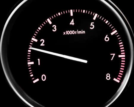 Car dashboard dials - engine RPM (rotations per minute) Stock Photo