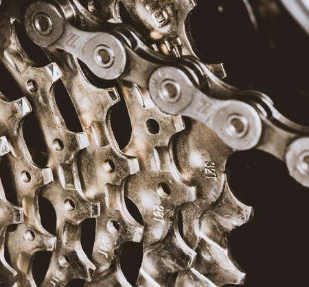 Rear sprocket on a bike close up