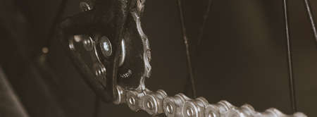 Bicycle chain on a sprocket - bicycle maintenance