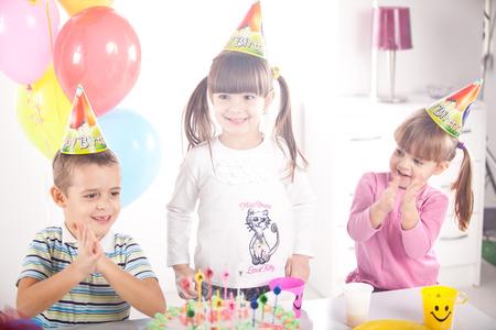Kids having fun while celebrating birthday
