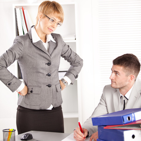 Young businessman having problems at work Stock Photo