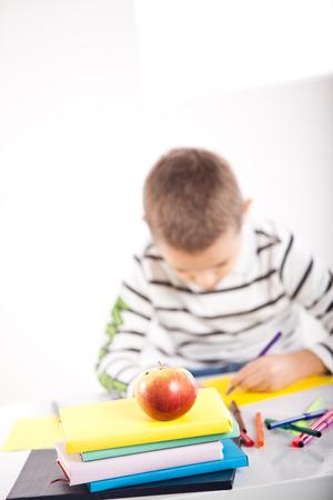Kid having fun while drawing