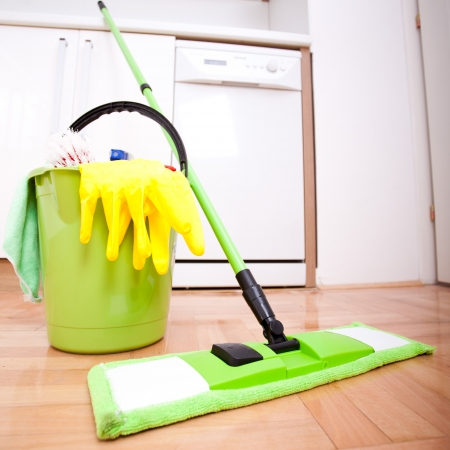 Cleaning and doing housework Stock Photo