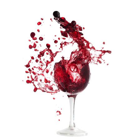 Wine glass with a splashe