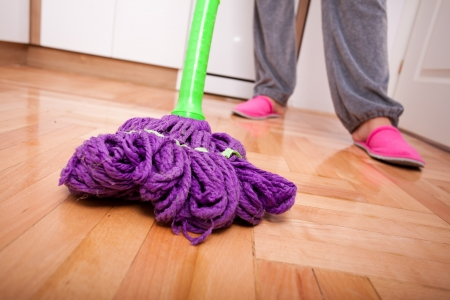 Young woman cleaning and doing housework Stock Photo