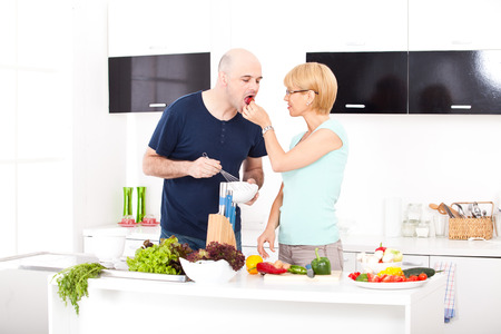 couple in the kitchen Stock Photo