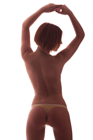 adult nude: Womans perfect body, back light, low key
