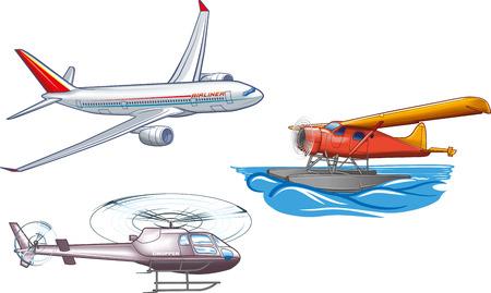 Types of air transportation. Vektorové ilustrace