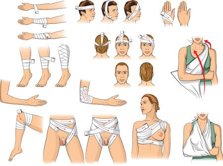 Bandaging techniques Иллюстрация