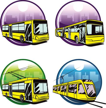 trolleybus: Web icons of basic city transports. Illustration