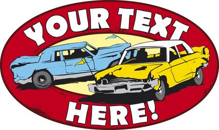 taxi: Dise�o de logotipo para los coches de demolici�n derby.