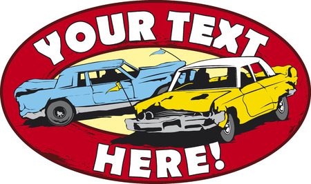 old cars: Logo design for demolition cars derby.