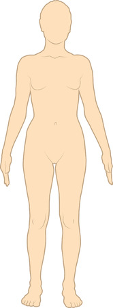 nude woman standing: Female silhouette Illustration