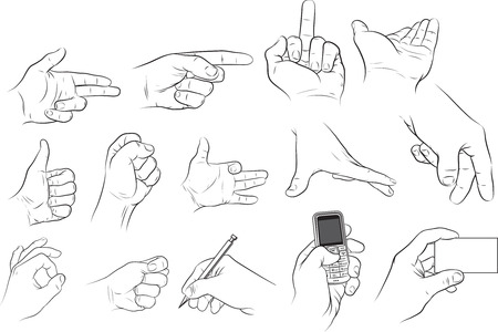 hand holding pen: Several hands position.