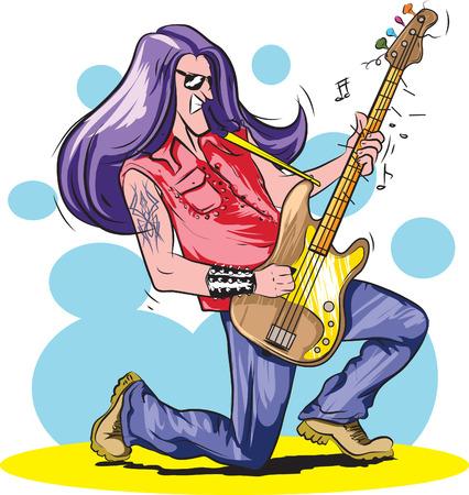 long play: Vector illustration of Heavy metal guitarist.