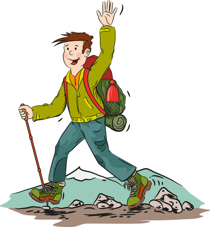 Cartoon vector illustration of hiking man.
