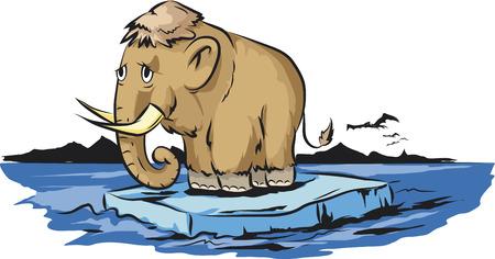 prehistoric era: Mammoth on melting piece of ice Illustration
