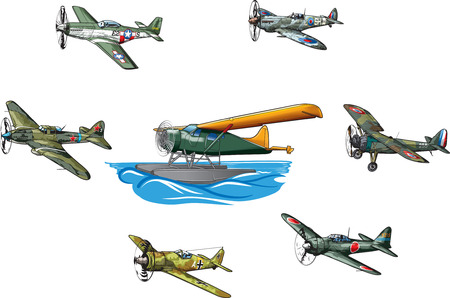 Military aircraft of World War II. Vectores