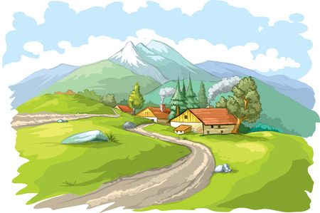 Vector illustration of typical mountain village. Illusztráció