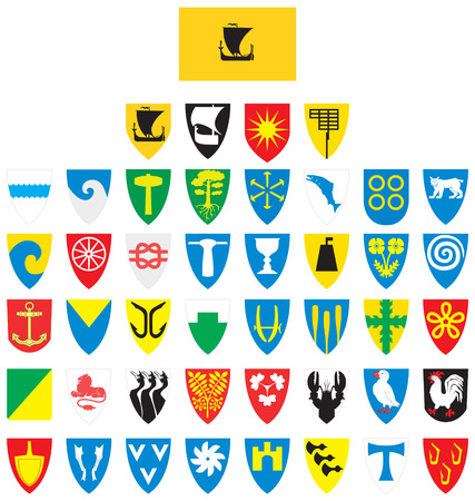 Flag and coat of arms of Nordland county in Norway.