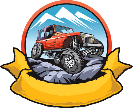 rocky road: icon design for off-road rock crawling vehicle club. Illustration