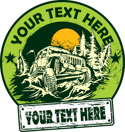 car plate: Off-road vehicle in mountain forest