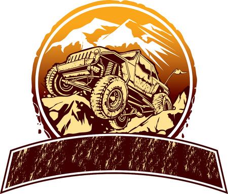 Vector illustratie van de rock kruipen off-road voertuig.