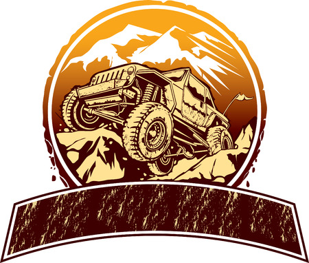 Vector illustration of rock crawling off-road vehicle. Çizim