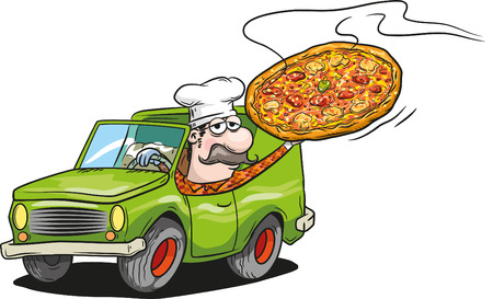 family van: Pizza delivery Illustration