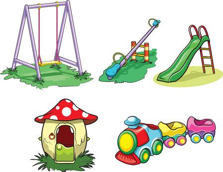 kids playground: Playground toys Illustration
