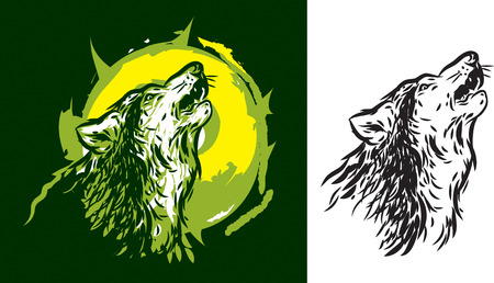 abstract tattoo: Wolf howling logo design