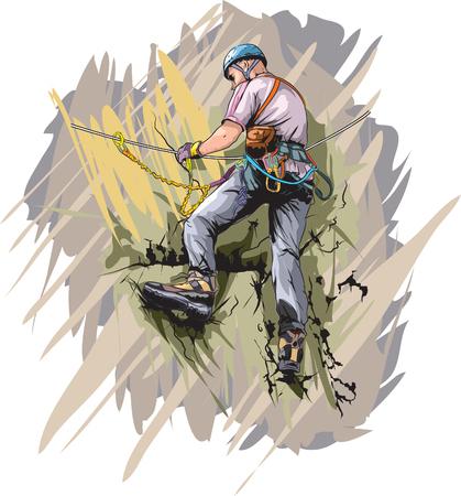 alpine zone: Via ferrata  climber Illustration