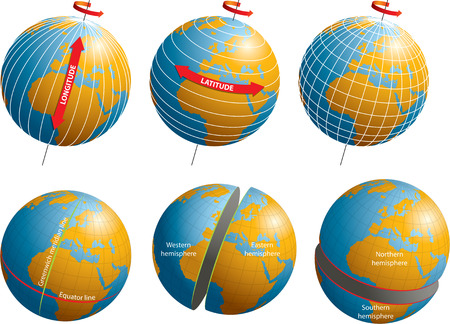 equator: Longitude and latitude coordinates