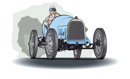 Blue race oldtimer car Stock Illustratie