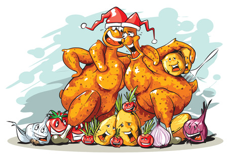 cartoon singing: Funny Christmas roasted turkey. Illustration