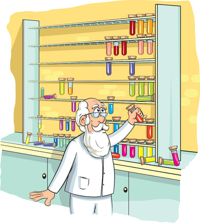 Chemist arranges test tubes